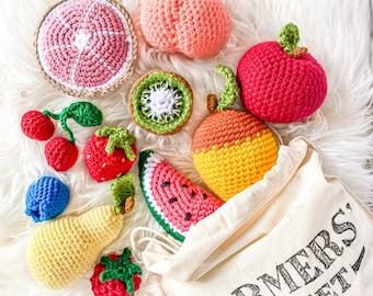 Crochet Fruit - Farmers Market Bundle, Set of 5 - custom selection - toys for baby/toddler