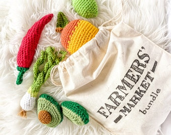 Crochet Fruits & Veggies - Fun Fiesta - Set of 5 - crochet mango, avocado, lime, green onion, chilli - toys for baby/toddler