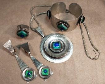 Vintage Mid Century Modernist Workshop OOAK Handmade Textured Steel Green Blue Glass Enamel Full Parure Jewellery Set MCM Scandinavian
