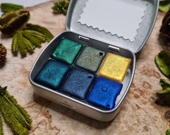 Metallic watercolor MAJESTIC COLORS half pan set for calligraphy,glitter pigment in art supplies,travel box palette,original gift to suprise