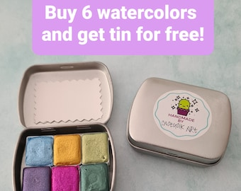 Make you own handmade watercolor palette set,empty metal tin for free,art supplies to brushes nibpen calligraphy,great artistic gift suprise