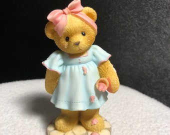 1996 Dressed in Blue Vintage Teddys and Toys First Edition Bear Figurine Book Reader