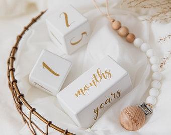 Baby milestone blocks, white and gold, including days, weeks, months, years, baby gift , newborn baby gift, baby shower gift,