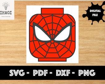 Spiderman, Block head shape Card svg dxf cut file