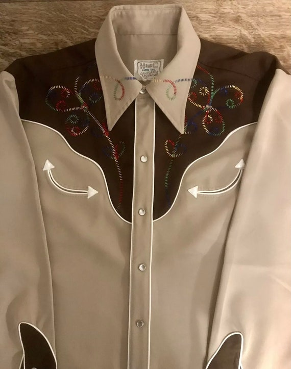 MEN/'s Vintage H BAR C WEStERN COWBOY TExAS Embroidered PEARl SNAPs BlUE Mens SHiRT