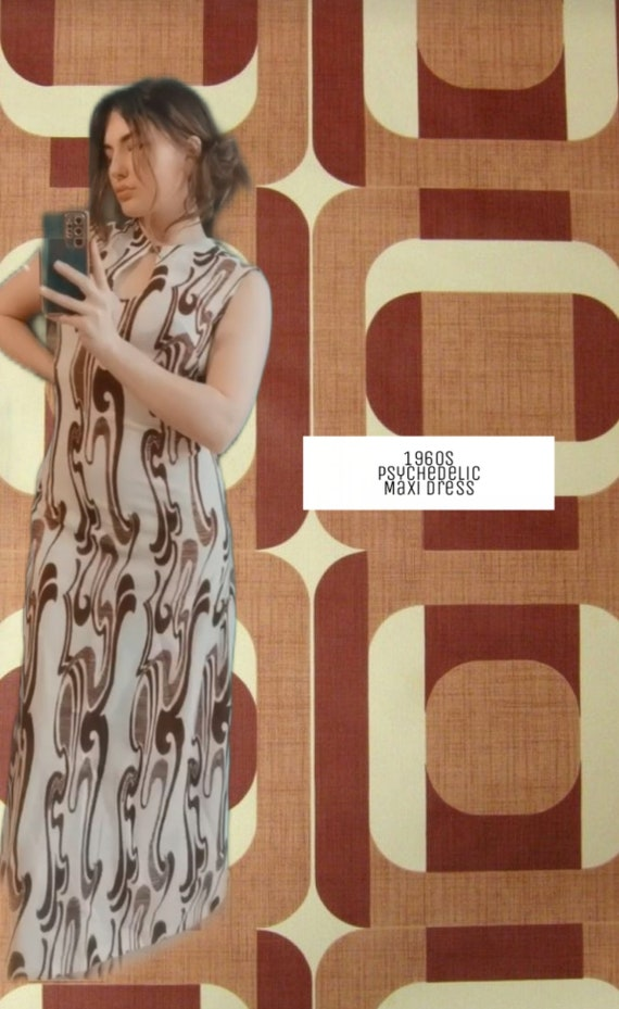 RARE* 1960s Psychedelic Print Maxi Dress