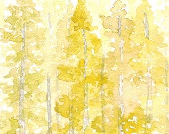 Fall Leaves Watercolor Painting, Aspen Leaves, Watercolor Print, Art Print