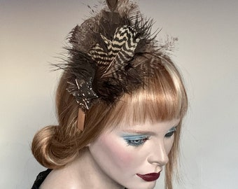 My Little Hat Fascinator Brown Toned Natural Feathers and Star