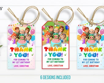 Kids thank you tags Cocomelon favor Tags Birthday Melon Favor Tags Melon Birthday Party Editable Template