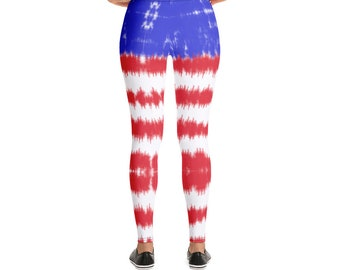 Patriotic Flag Leggings, Tie Dye Red White and Blue Leggings, USA Yoga Pants, Exercise Clothes