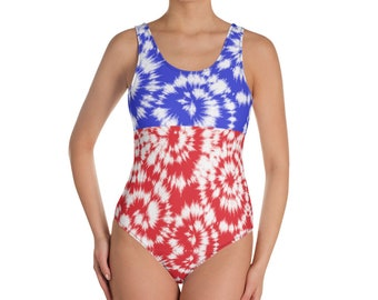 Red White and Blue Tie Dye One-Piece Bathing Suit, Patriotic Swimsuit American Flag Swimwear