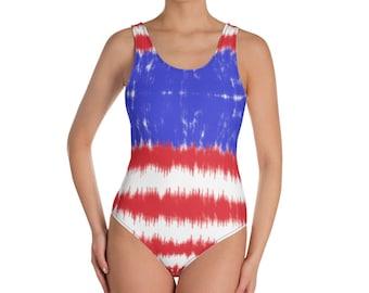 American Flag One-Piece Swimsuit, Patriotic Tie Dye Bathing Suit, Swimwear