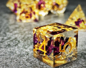 Sage's Orbs - Enchanted Flower Purple/Gold Ink Sharp Edge Resin Polyhedral Dice Set