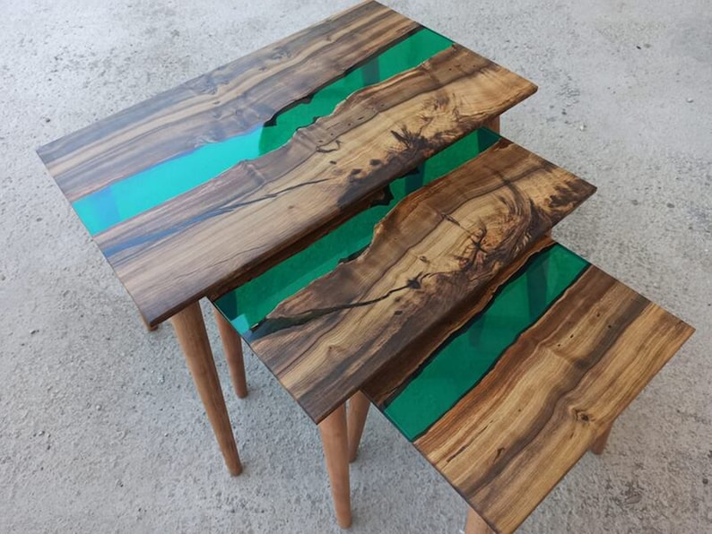 Olive Epoxy Resin Table Top