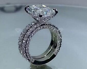 5Ct Radiant Moissanite Engagement Ring,Radiant Bridal Ring Set, Wedding Ring Set.