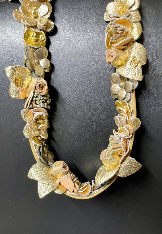 Vintage Chanel metallic leather gold belt   Chanel
