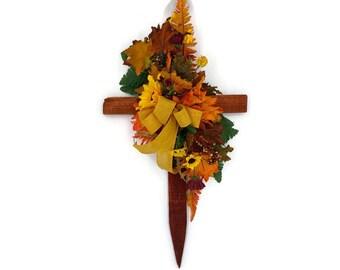 Fall Cemetery Cross, Cemetery Floral Cross, Cemetery Wood Cross, Fall Cemetery Flowers, Cemetery Cross, Cemetery Flowers
