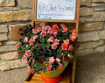Acacia Wood Plant Stand, Flower Pot Planter, Rustic Folding Display Rack, Chalkboard Stand, Outdoor Accent Furniture, Wedding Stand