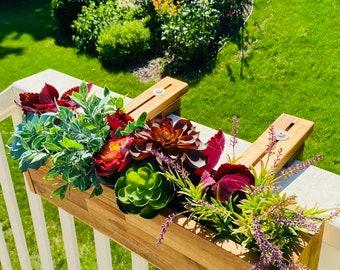 Acacia Railing Planter Box, Deck Railing Planter, Balcony Planter Hanging, Deck Rail Planter Box, Herb Planter, Outdoor Box