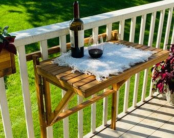 Balcony Space Saver Folding Table, Folding Balcony Table, Patio Table, Acacia Wood Outdoor Table, Apartment Balcony Wooden Table