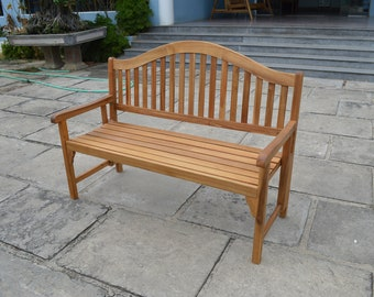 Wood Garden Bench, Patio Wise Classic Folding Bench, Wooden Outdoor Furniture, Rustic Farmhouse Accents, Decorative Wood Park Bench