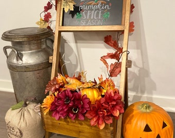 Patio Wise Indoor/Outdoor Acacia Planter, Chalkboard with Interchangeable Seasonal Signs, Wedding Decor Stand, Rustic Chalkboard Sign