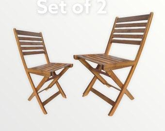 Set of 2 Acacia Folding Chairs
