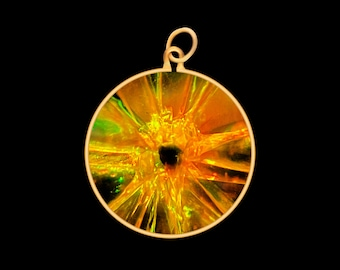 Natural Clear Yellow Glassadazical Small Button Glass Pendant