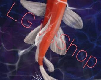 Koi Fish Capri Leggings Under Water Koi Fish and Flowers Koi Fish Yoga Capris Carp Fish Capris Koi Fish Yoga Pants Butterfly Koi Fish