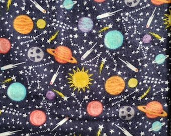 Space planets small print flannel fabric HALF YARD lengths, 100% cotton.