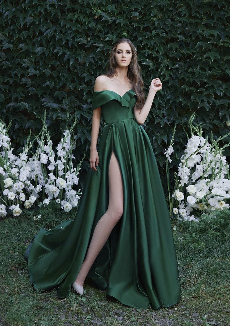 Off Shoulder Sexy Strapless Satin Dresses Split Corset image 0