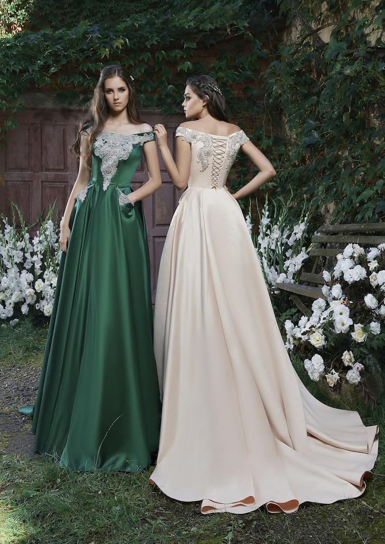 Evening Dress with Crystal Beading Modest Bridesmaid dress image 0