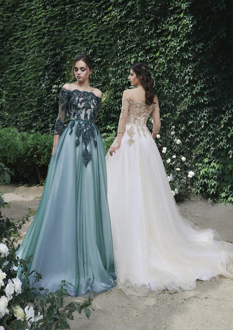 Emerald Green Prom Dress Off Shoulder Dress Wedding Guest image 0