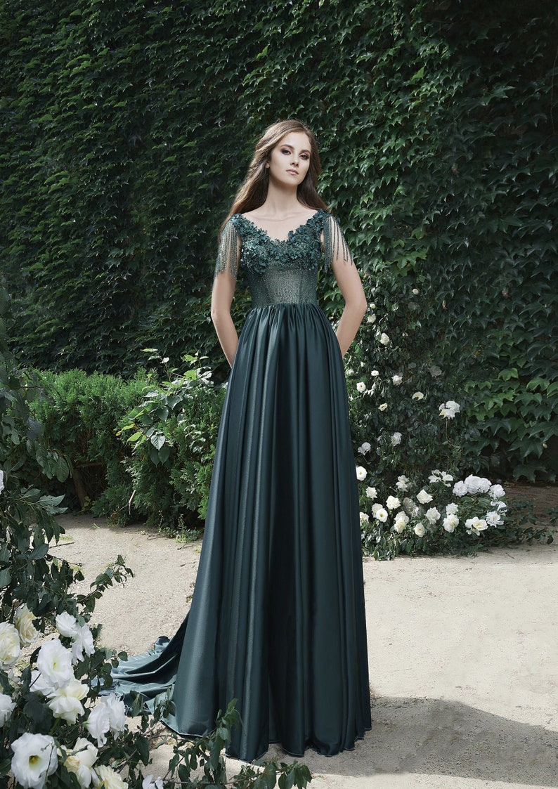 Green Prom Dress Ball Gown Evening Gown Graduation Party image 0