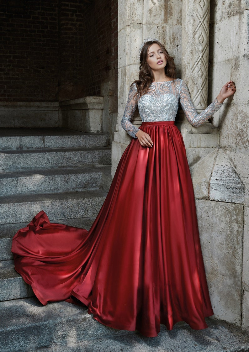 Satin Red Dress Red Woman Dress Red Evening Dress Inspired image 0