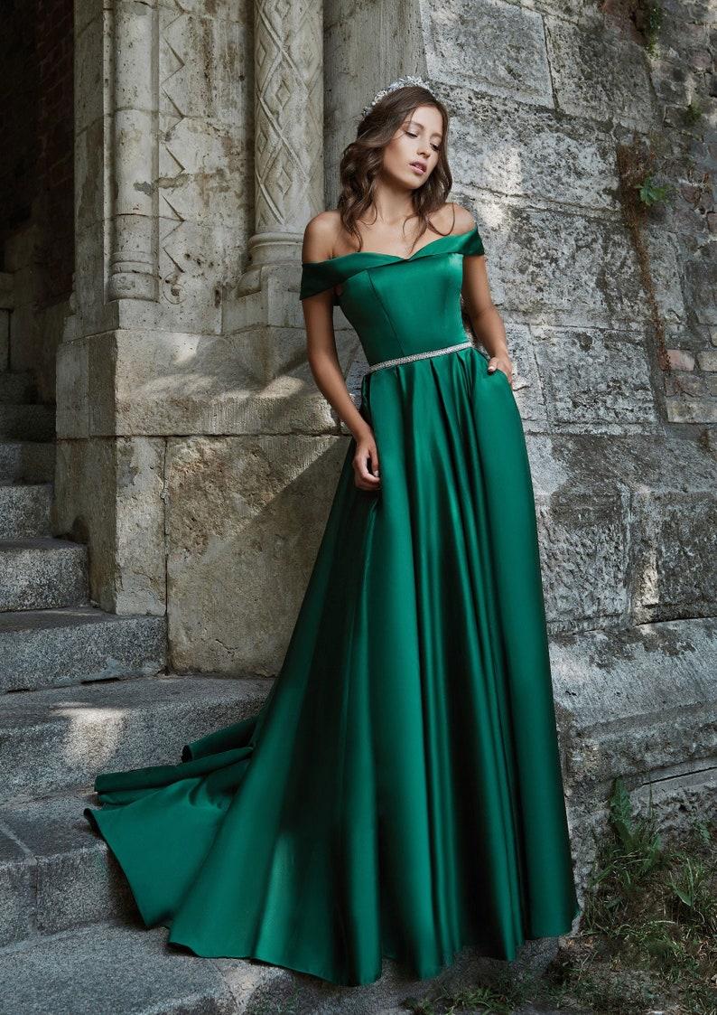 Emerald Green Silk Maxi Dress Off-Shoulder Dress Green image 1