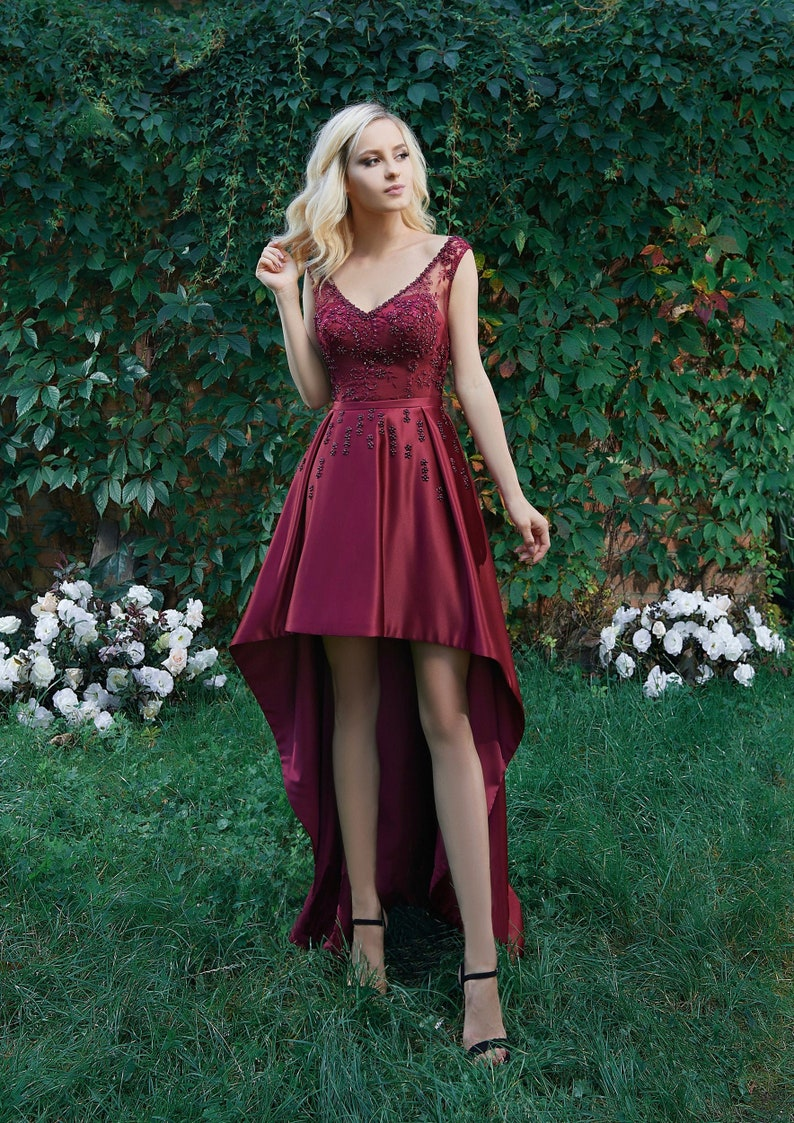 Burgundy Prom Dress Evening Gown Graduation Party Dress image 0