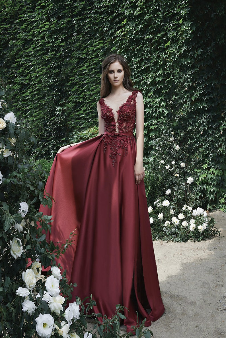 Burgundy Wedding Dress Outfit for prom Wine Red Silk Evening image 0