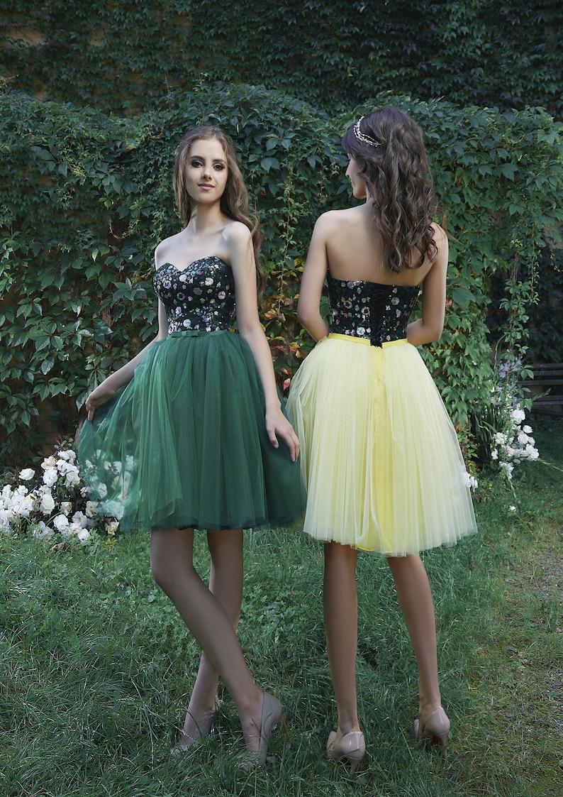 Green Midi Evening Dress Corset Prom Dress Fairy Prom Dress image 0