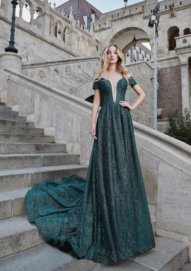 Emerald Green Dress Bridesmaid Dress Green Maxi Dress image 0