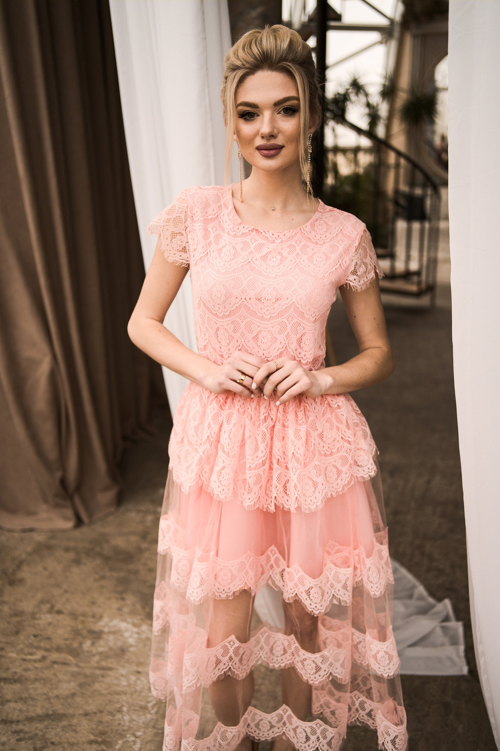 Tüll Brautjungfer Kleid nackt Kleid Sommer Hochzeit Gast