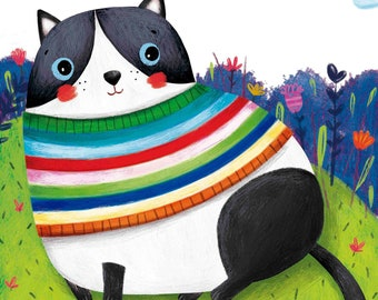 Custom Cat Illustration - Print A4 and A3 - Wall Decoration