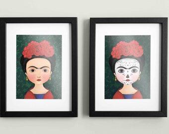 Pack 2 Illustrations 'Frida Kahlo' - Print A4 - Wall decoration