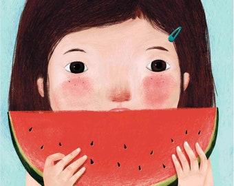 Watermelon Illustration - Print (A4) - Wall decoration