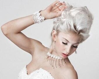 Bridal Choker, Choker Necklace, Wide Lace Choker, Lace Jewellery, Bridal Lace Jewellery, White Choker necklace jewelry set,