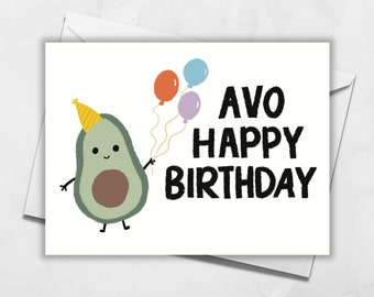 Avocado Birthday Card | Happy Birthday Card | Blank Greeting Card | Pun Card