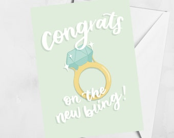 Congrats on the New Bling Card | Blank Engagement Card | Celebration Greeting Card