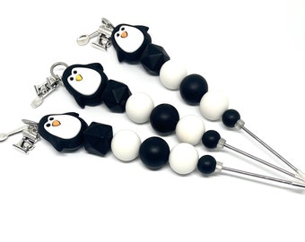 Silicone Penguin & Acrylic Beaded 15cm Cookie Scribe Tool with Metal Snowflake Charm