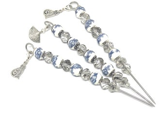 Blue Floral Glass & Smokey Crystal Vintage Beaded 15cm Cookie Scribe with Metal Charm