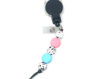 Macaron Silicone Beaded Retractable ID  Tag Holder